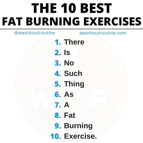There is no such thing as a fat burning exercise.